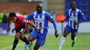 Jabo Ibehre in action for Colchester United.