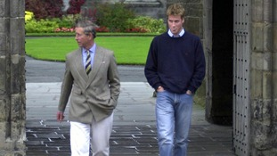 September 2001: Prince William arriving at St Andrews University accompanied by his father