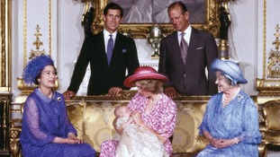 August 1982: The Royal family at Buckingham Palace on the day of Prince William's christening