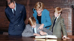 September 1995: Prince William signs the traditional Entrance Book at Eton College