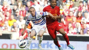 Michael Harriman in action for QPR against Liverpool.
