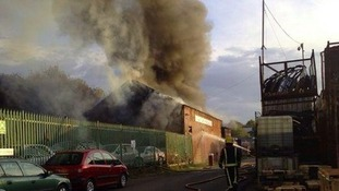 The fire at a garage in Stourbridge