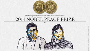 The Nobel Peace Prize drawing of Satyarthai and Malala Yousafzai.