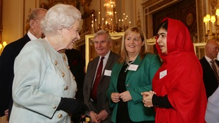 Malala meeting the Queen last year.