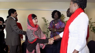 Malala meeting leaders of the #BringBackOurGirls campaign in Nigeria.