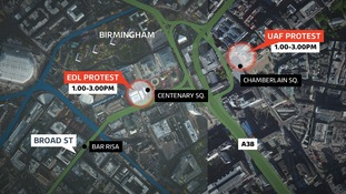 Map showing locations of EDL and UAF rallies in Birmingham city centre today
