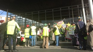 Protest gets underway at the Senedd