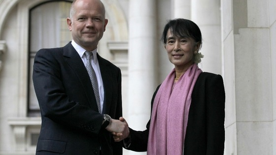 Burmese pro-democracy campaigner Aung San Suu Kyi meets with Foreign Secretary William Hague