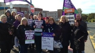 Health unions striking outside the West Cumberland Hospital