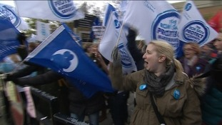 Nurses and hospital workers across the North East NHS have been striking this morning in a dispute over pay.