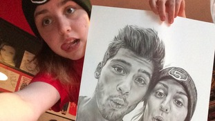 County Durham teen commissioned to draw 1D's Zayn Malik with Perrie Edwards as a present for the popstar.