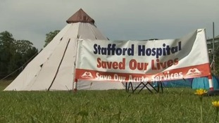 Protestors against moving the hospital's services have been camped outside
