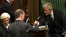 Tory defector Douglas Carswell shakes the hand of Speaker of the House of Commons John Bercow