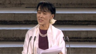 Aung San Suu Kyi speaking in Westminster hall