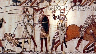 The section of the Bayeux that records King Harold II's death
