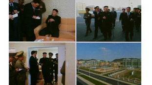 Multiple images of Kim Jong Un show him being supported by a walking stick