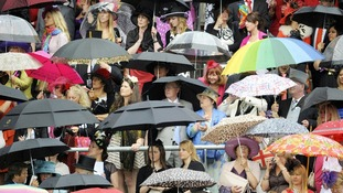 Even the umbrellas were fancy for Ladies' Day at Ascot
