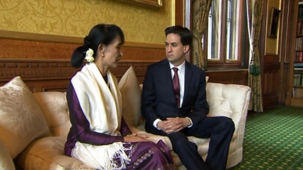 Labour leader Ed Miliband has met Aung San Suu Kyi in the Commons after her speech in Westminster Hall