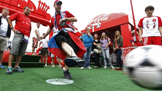 A Czech fan takes one from the spot during a Fan Zone event at the National stadium in Warsaw.