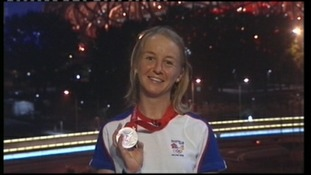 Emma Pooley with silver medal after competing at Beijing Olympics, 2008