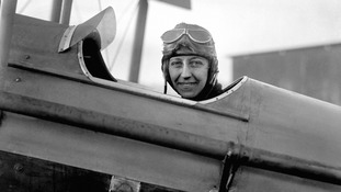 Amy Johnson, pictured in her aircraft in 1930.