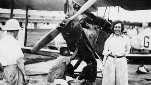 Amy Johnson and the famous Gypsy Moth aircraft.