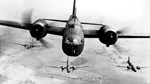 A Vickers Wellington Bomber in flight.