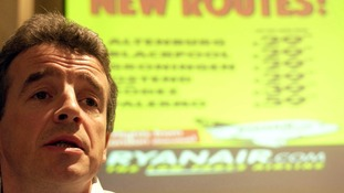 Ryanair chief Michael O'Leary announcing new routes in 2003, but the airline's relationship with Blackpool was not to last.
