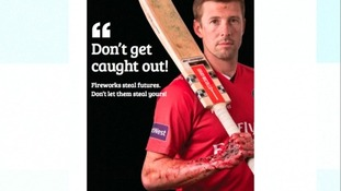 Cricketer Paul Horton is shown in the poster with arm and hand injuries.