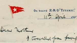 The letter sent from the Titanic which will go on display this summer