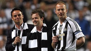 TV presenters Anthony McPartlin (R) and Declan Donnelly (Ant & Dec) with Alan Shearer after the Alan Shearer Testimonial match between Newcastle XI and Celtic at St James' Park, Newcastle in 2006.