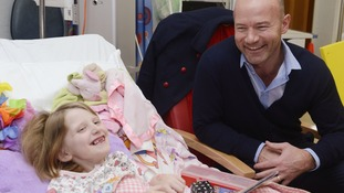 Alan Shearer with seven year old Sadie Metin from Inverness, Scotland at the Children's Heart at the Freeman Hospital in Newcastle, where Shearer announced that he has become Patron of the Children's Heart Unit Fund (CHUF).