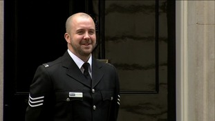 Sgt Luke Gribble was presented with the bravery award at Downing Street