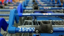 Trolleys at a Tesco store