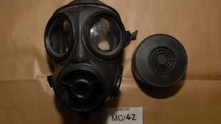Gas mask found in Vladimir Aust's student accommodation.