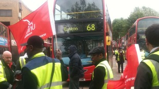 Striking bus workers in Camberwell