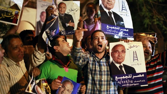 Supporters of candidate Ahmed Shafiq 