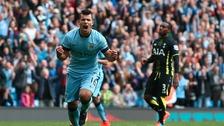 Manchester City's Sergio Aguero celebrates
