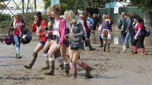 Mud at the campsite at the Isle of Wight Festival.