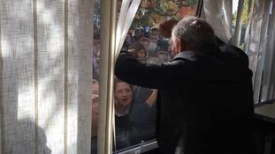 Sir Ian McKellen delights schoolchildren in Somerset.