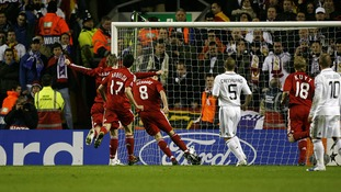 Steven Gerrard takes a penalty against Real Madrid
