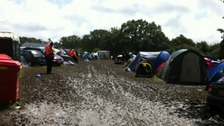 Muddy tents at IoW Festival
