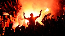 Flares were set off in the Galatasaray end at the Emirates Stadium.