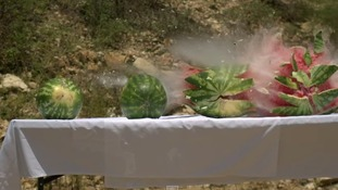 Bullet through watermelons