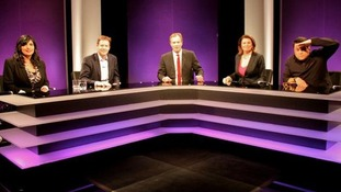 The panel on tonight's Agenda - Nikita Lalwani, Nick Clegg, Julia Hartley-Brewer and Dom Joly.