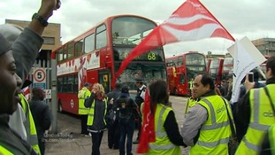 Striking bus workers