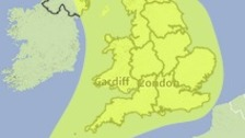The area covered by a Met Office yellow weather warning on Tuesday 21 October 2014