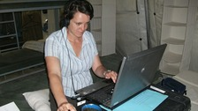 Kate Prout at work in Afghanistan