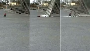 Child's miraculous escape from falling glass panel during shelling of Donetsk's Donbass Arena