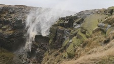 Kinder Downfall in Derbyshire is blown upwards by the high winds as ex-Hurricane Gonzalo hit Derbyshire.